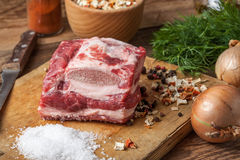 Raw brisket with bone. Royalty Free Stock Photo