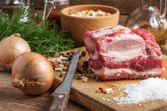 Raw brisket with bone. Royalty Free Stock Images