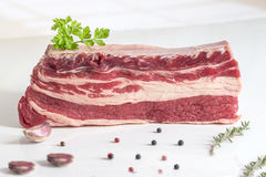 Raw briskets isolated on white. Raw briskets with herbs and spices isolated on white Royalty Free Stock Images