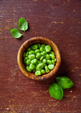 Raw broad beans. On wooden Royalty Free Stock Images