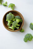 Raw broccoli in bowl Royalty Free Stock Photography