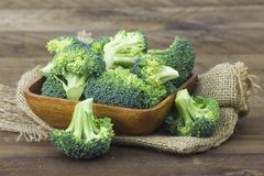 Raw broccoli in a bowl Royalty Free Stock Photos