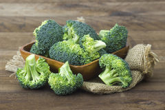 Raw broccoli in a bowl royalty free stock images
