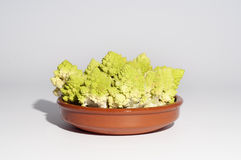 Raw broccoli on a clay bowl, isolated Stock Image