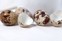 Raw and broken quail eggs on white tablecloth Stock Photography