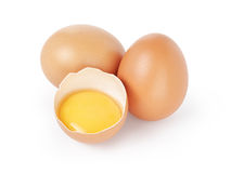 Raw brown chicken egg isolated Royalty Free Stock Images