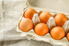 Raw brown chicken eggs in a cardboard tray with cells on sacking on a white wooden table. Ingredients for cooking. Raw brown chicken eggs in a cardboard tray Royalty Free Stock Images