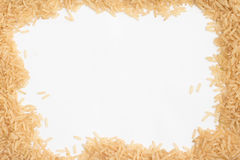 Raw Brown Rice frame Royalty Free Stock Photo