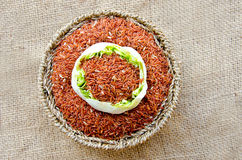 Raw brown rice and lotus flower in Basket weave Stock Images