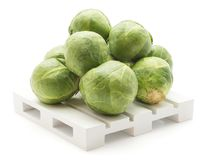 Raw Brussels sprout isolated. Fresh Brussel sprout stack on a pallet isolated on white background raw Stock Photos