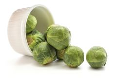 Raw Brussels sprout isolated. Brussels sprout heads scattered out a ceramic mold isolated on white background raw and fresh Stock Image
