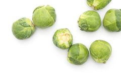 Raw Brussels sprout isolated. Raw Brussels sprout heads top view isolated on white background Stock Images