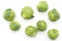 Raw Brussels sprout isolated. Raw Brussels sprout heads top view isolated on white background fresh Stock Photography