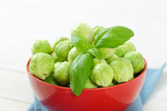 Raw Brussels sprouts. Bowl of raw Brussels sprouts - close up Stock Photos