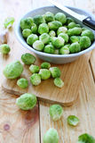 Raw brussels sprouts in a bowl. Food Royalty Free Stock Photography