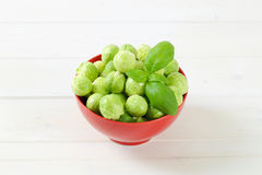 Raw Brussels sprouts. Bowl of raw Brussels sprouts on white background Royalty Free Stock Photography