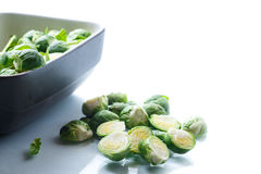 Raw Brussels sprouts in ceramic form Royalty Free Stock Photography