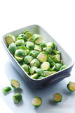 Raw Brussels sprouts in ceramic form Royalty Free Stock Photos