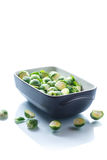 Raw Brussels sprouts in ceramic form Stock Images