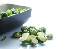 Raw Brussels sprouts in ceramic form Royalty Free Stock Photo