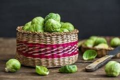 Raw Brussels Sprouts. Many Fresh Green Brussels Sprouts in a Basket Royalty Free Stock Photo