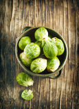 Raw brussels sprouts. In pan Royalty Free Stock Photography