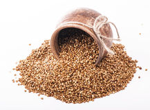 Raw buckwheat in bowl Stock Image