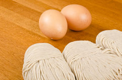 Raw Buckwheat Noodles and Eggs Royalty Free Stock Image