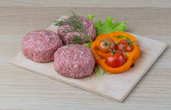 Raw burger cutlet Royalty Free Stock Photos