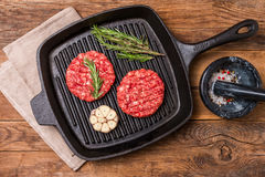 Raw burgers from organic beef Royalty Free Stock Image