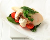 Raw butterfish and vegetables Stock Photography