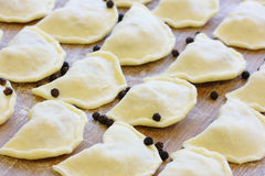 Raw cabbage dumplings - traditional Ukrainian food Stock Photos