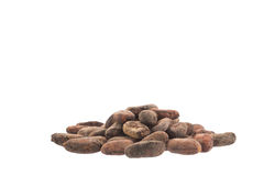 Raw cacao beans isolated on white Stock Photo