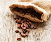 Raw cacao beans. In burlap bag on a wooden table royalty free stock photos