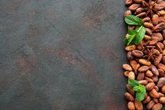 Raw cacao beans. On a old black background stock images