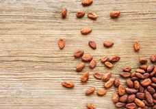 Raw cacao beans. On a old wooden background stock photography