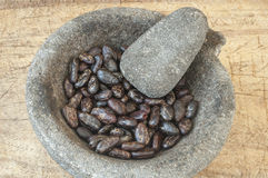Raw Cacao in Mortar Stock Images