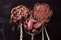 Raw cacao nibs, shredded chocolate and cocoa beans. On vintage dark metal background royalty free stock images