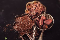 Raw cacao nibs, shredded chocolate and cocoa beans. On vintage dark metal background royalty free stock image