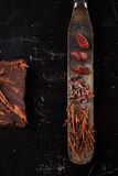 Raw cacao nibs, shredded chocolate and cocoa beans Stock Photography