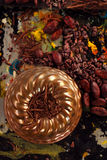 Raw cacao nibs, shredded chocolate and cocoa beans Stock Image