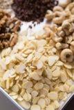 Raw cacao, sliced almonds, walnut, cashew. Assortments of Nuts: raw cacao, sliced almonds, walnut, cashew Stock Photography