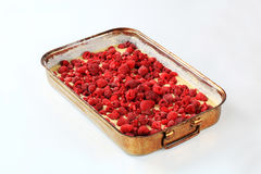 Raw cake batter with raspberries Royalty Free Stock Photo