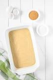 Raw Cake Dough in Pan Stock Photo