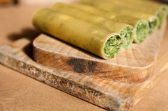 Raw cannelloni with spinach Stock Image