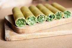 Raw cannelloni with spinach Stock Images