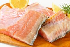 Raw carp fillets Royalty Free Stock Images