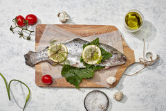 Raw carp on the wooden cutting board. A horizontal above image of raw carp on the wooden cutting board  on white Stock Photos
