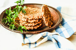 Raw carrot burgers with lentils and buckwheat, dry, selective fo Royalty Free Stock Photos
