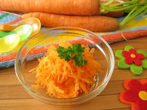 Raw carrot mash for children Royalty Free Stock Photography